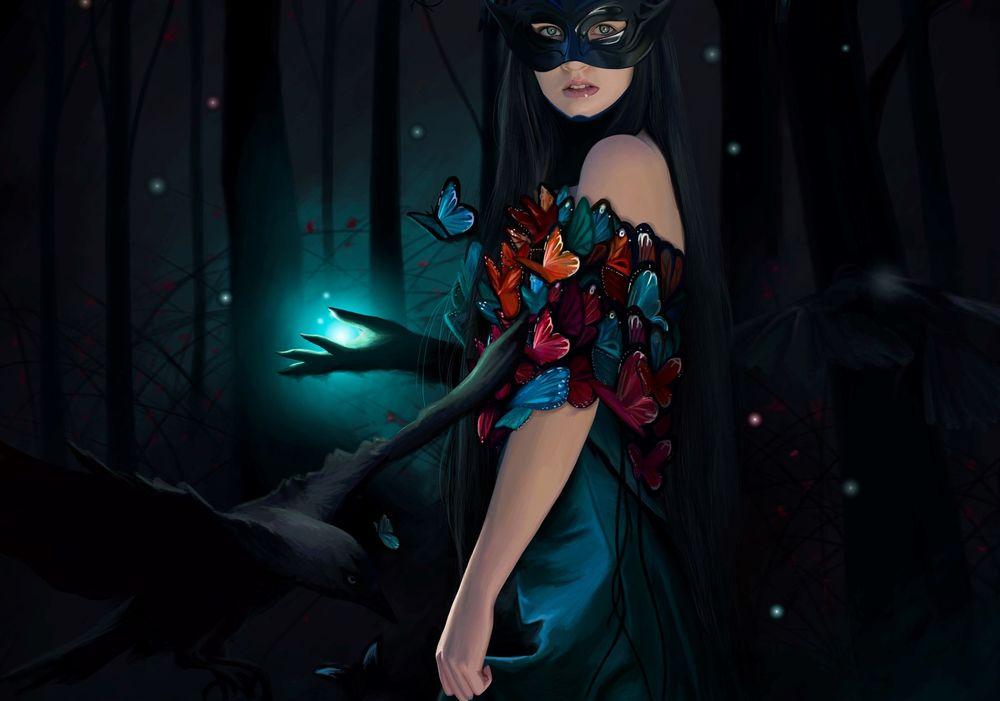 Обои для рабочего стола Девушка с маской на лице и с бабочками на ней стоит в волшебном лесу, by Cecilia G. F