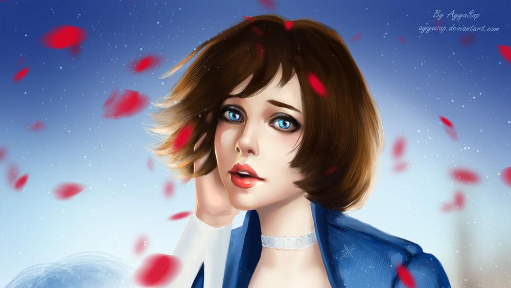 Обои для рабочего стола Грустная девушка шатенка с голубыми глазами на фоне летающих лепестков, by AyyaSap