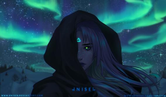 Обои Девушка со светящимся знаком в виде треугольника во лбу на фоне ночного неба и северного сияния, by dNiseb