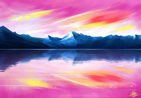 Обои Горы на берегу озера, by Khushiart