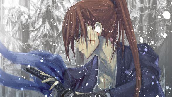 Обои Химура Кеншин / Himura Kenshin вынимает катану из ножен, из аниме Самурай Х / Samurai Х / Бродяга Кеншин / Tramp Kenshin