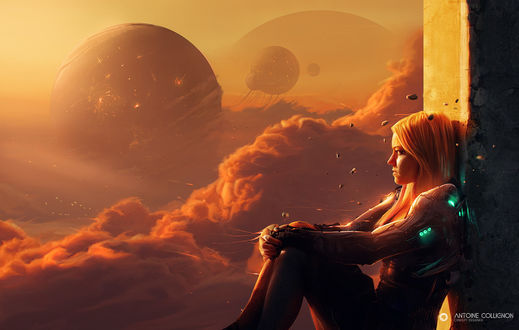 Обои Фантастическая девушка сидит на фоне неба с облаками и планетами, by Antoine Collignon