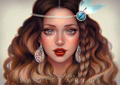 Обои Красивая девушка с серьгами и украшением на голове, by serafleur