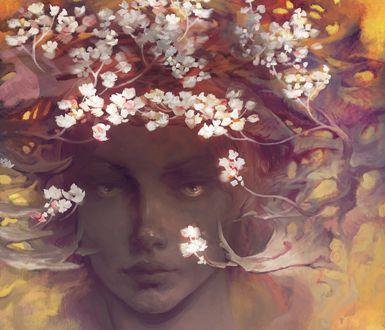 Обои Девушка с весенними цветами на голове, by 우진 오