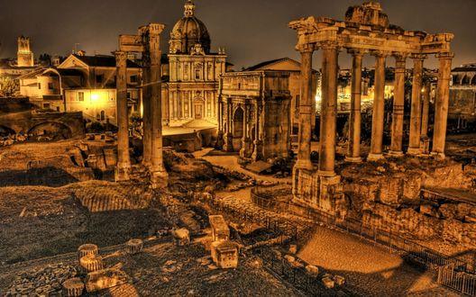 Обои Античные развалины римского Форума в Риме, Италия, в лучах заката