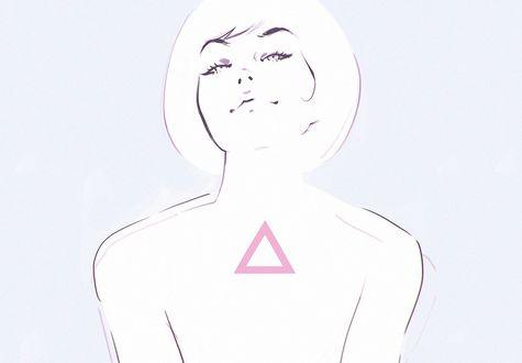 Обои Девушка со знаком на груди, by Kuvshinov Ilya