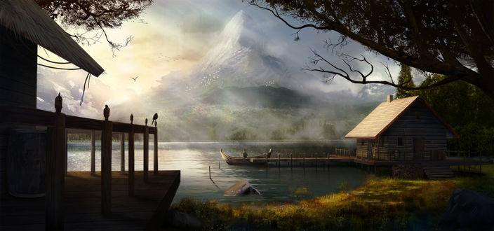 Обои Мужчина в лодке у небольшого домика на озере