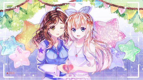 Обои Две девушки на фоне звезд, by Batrez