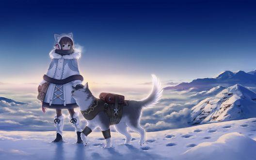 Обои Девушка в теплой одежде с собакой породы хаски стоят на вершине горы, на фоне облаков, by Megumu