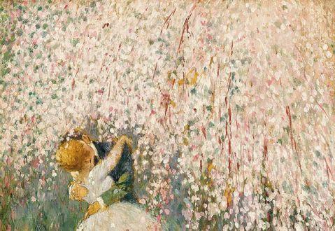 Обои Целующаяся парочка у весеннего цветущего дерева, by Georges Picard