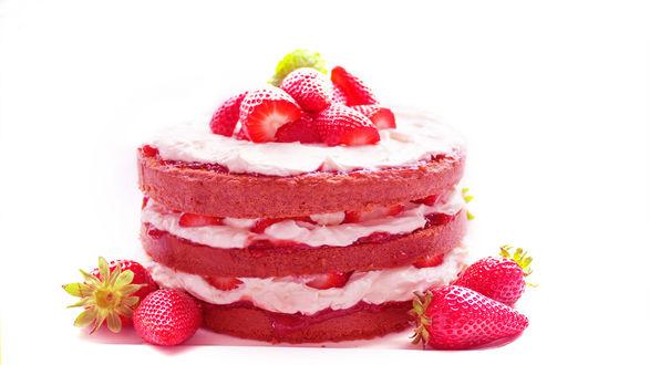 Обои Клубничный бисквитный торт