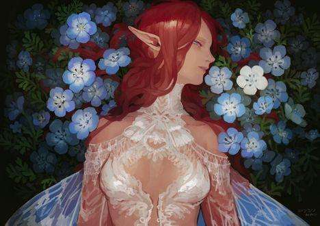 Обои Девушка-эльфийка в голубых цветах