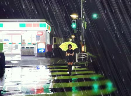 Обои Девушка с желтым зонтом стоит под дождем на пешеходной дорожке, by Kuvshinov Ilya