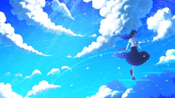 Обои Девушка поднимается по ступеням в небе