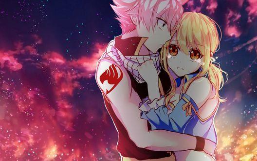 Обои Нацу Драгнил / Natsu Dragneel и Люси Хартфилия / Lucy Heartfilia из аниме Сказка о Хвосте феи / Fairy Tail, by Lium