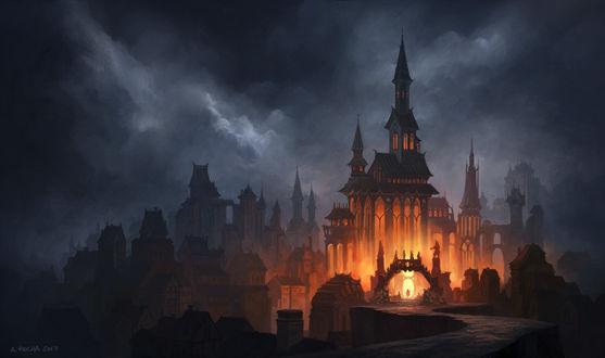 Обои Освещенный собор под облачным небом, by andreasrocha
