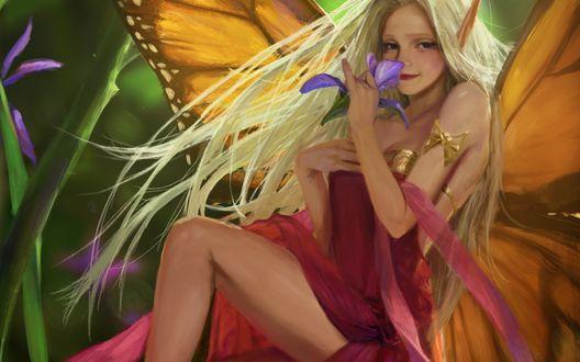 Обои Светловолосая девушка - бабочка держит в руке синий цветок