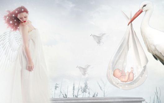 Обои Аист принес младенца женщине со звездами в волосах и белыми крыльями, рядом с ними порхают белые голубки, на фоне облачного неба