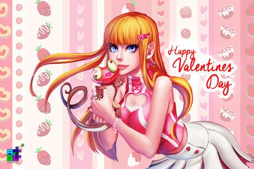 Обои Рыжеволосая девушка держит у лица хамелеона (Happy Valentines Day), by sakuyasworld
