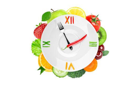 Обои Тарелка с фруктово-овощными часами