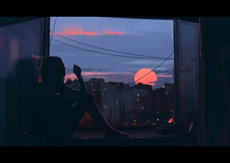 Обои Девушка сидит на подоконнике окна и любуется закатом