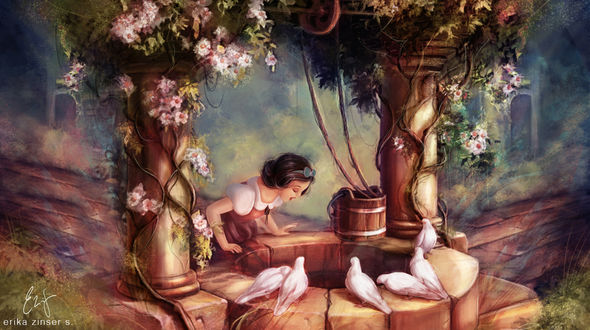 Обои Диснеевская принцесса заглядывает в колодец, by glimpen