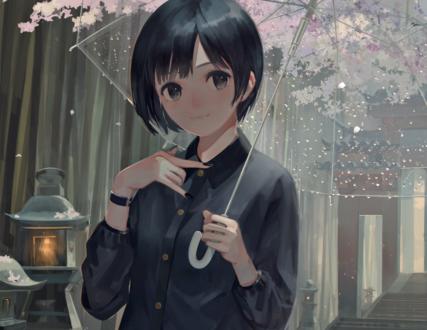 Обои Девушка с зонтом стоит под весенними ветками