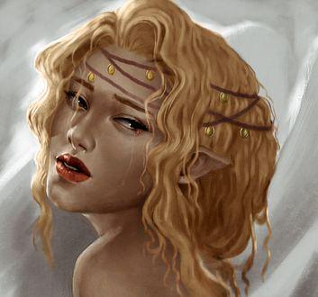Обои Девушка-эльфийка с украшением на волосах, by VickyInu