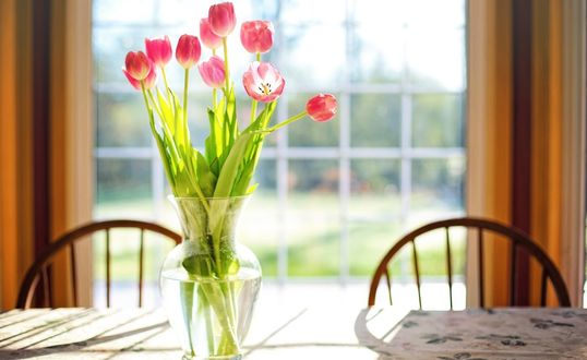 Обои Свежесрезанные весенние тюльпаны стоят в вазе на столе на фоне окна