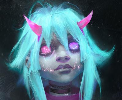 Обои Девочка-демон с розовыми рожками