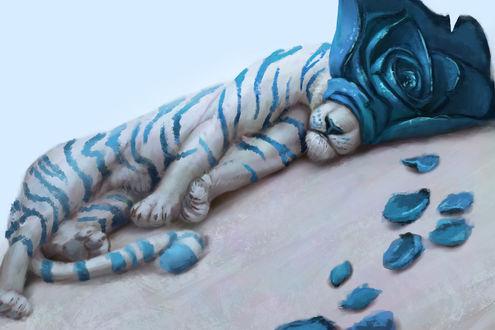 Обои Белый тигр с синей розой на морде