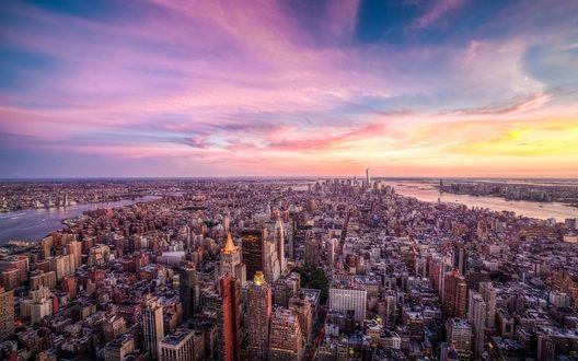 Обои Панорама города Нью-Йо́рк, США