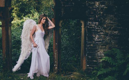 Обои Девушка с крыльями ангела возле разрушенного дома в лесу