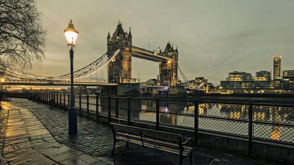 Обои Вечерняя набережная города Лондон, Великобритания