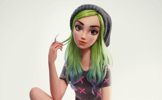 Обои Девочка с зелеными волосами в шапочке, by Nazar Noschenko