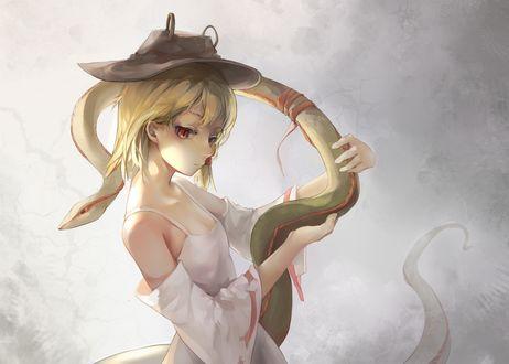 Обои Сувако Мория / Moriya Suwako со змеей в руках из серии игры Touhou Project / Проект Восток, art by Agensou Kuro-usagi