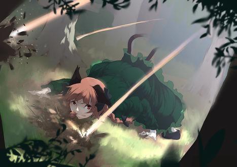 Обои Kaenbyou Rin / Рин Каэмбе лежит на траве в лесу из аниме Touhou Project / Проект Восток, art by Mirukia