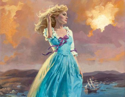 Обои Девушка стоит на фоне неба и моря с парусником, художник Robert Maguire / Роберт Макгейр