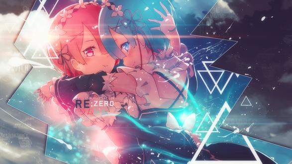 Обои Rem / Рем и Ram / Рам из аниме Re: Zero kara Hajimeru Isekai Seikatsu / Re: Жизнь с нуля в параллельном мире, by Say0chi