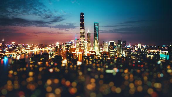 Обои Город Тайвань под вечерним небом, Китай