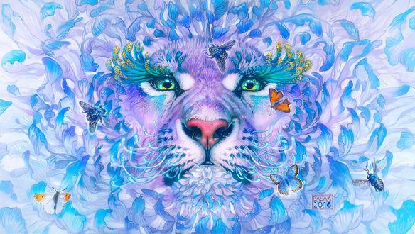 Обои Морда льва с бабочками, by balaa