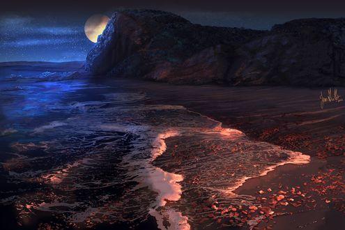 Обои Полная луна за горой, пляж Sculptured Beach / Скалпчерд Бич, by chateaugrief