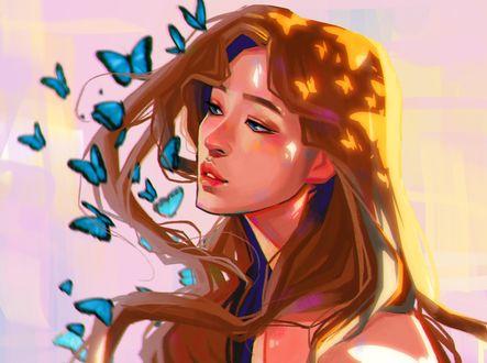 Обои Девушка в окружении голубых бабочек, by Charles Deroo