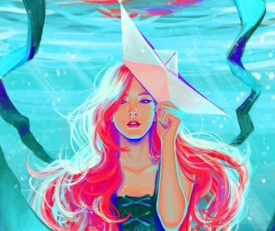 Обои Девушка с корабликом на голове, by Charles Deroo