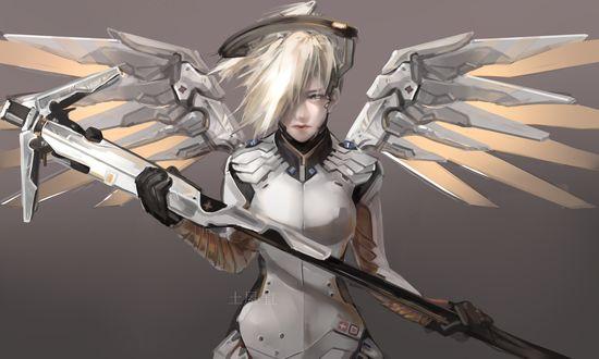 Обои Mercy / Ангел / Ангела Циглер из игры Overwatch / Дозор, by Lien-Tsu