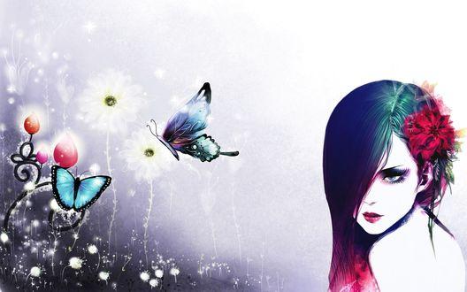 Обои Рисованная брюнетка с цветком в волосах, рядом с ней цветы и порхающие бабочки, бело-фиолетовый фон