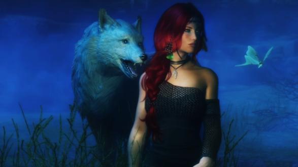 Обои Девушка и волк в сумерках, рядом с ними бабочка