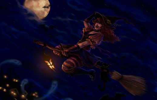 Обои Рыжеволосая девушка ведьмочка на метле с черным котом летит по небу на фоне духов летучих мышей и полной луны, by wawa711
