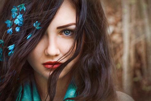 Обои Портрет девушки с цветами на волосах, by Ilona