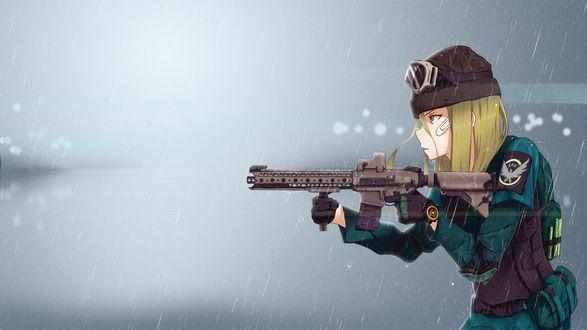Обои Tom Clancy / Том Клэнси с автоматом под дождем из аниме Tom Clancys the Division / Подразделение Тома Клэнси